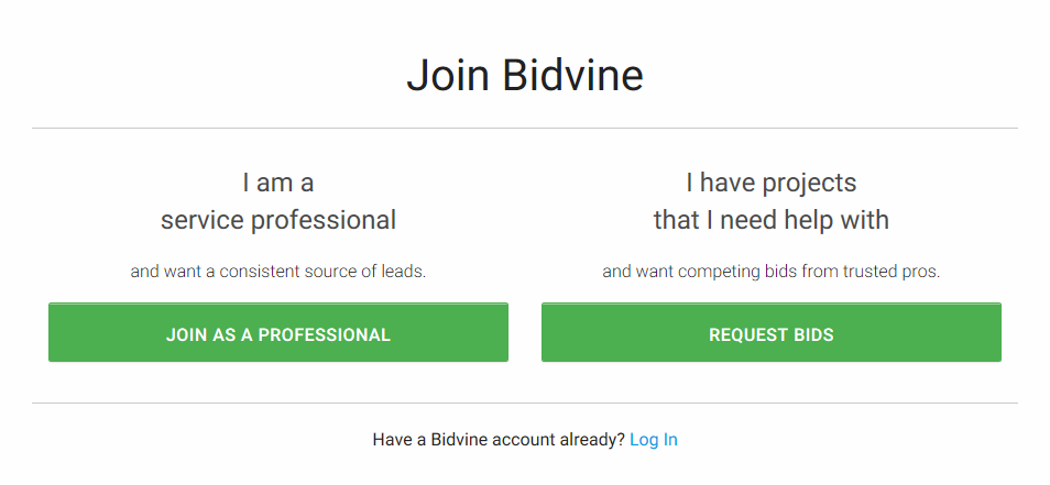 bidvine sign up