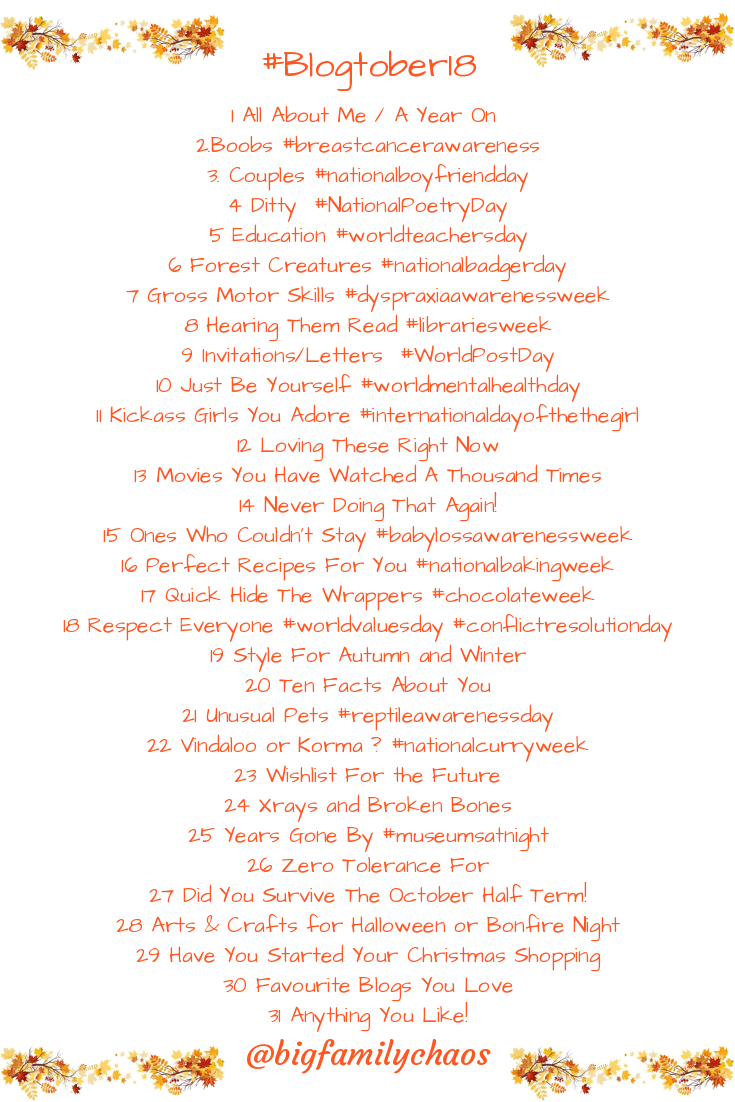 #blogtober18 list of prompts