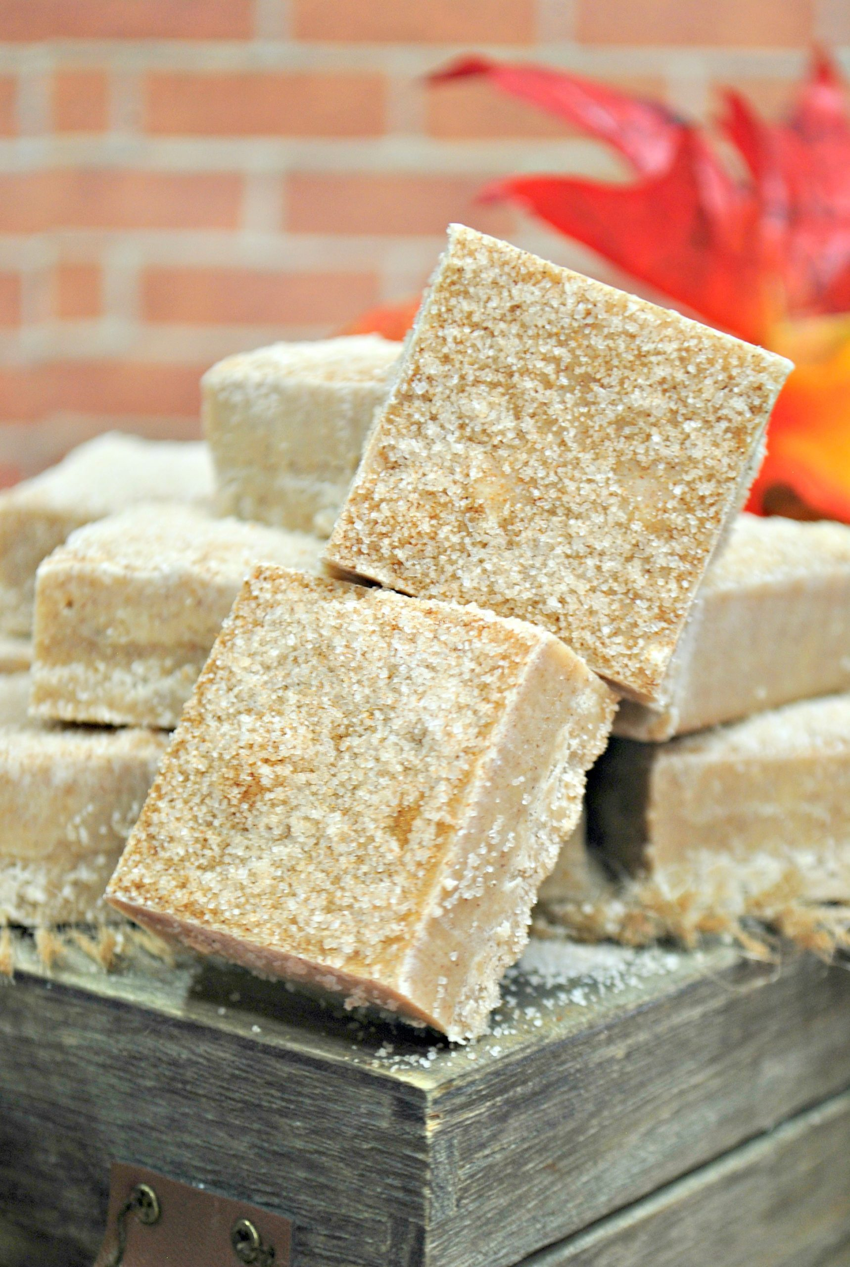 cut squares of snickerdoodle fudge