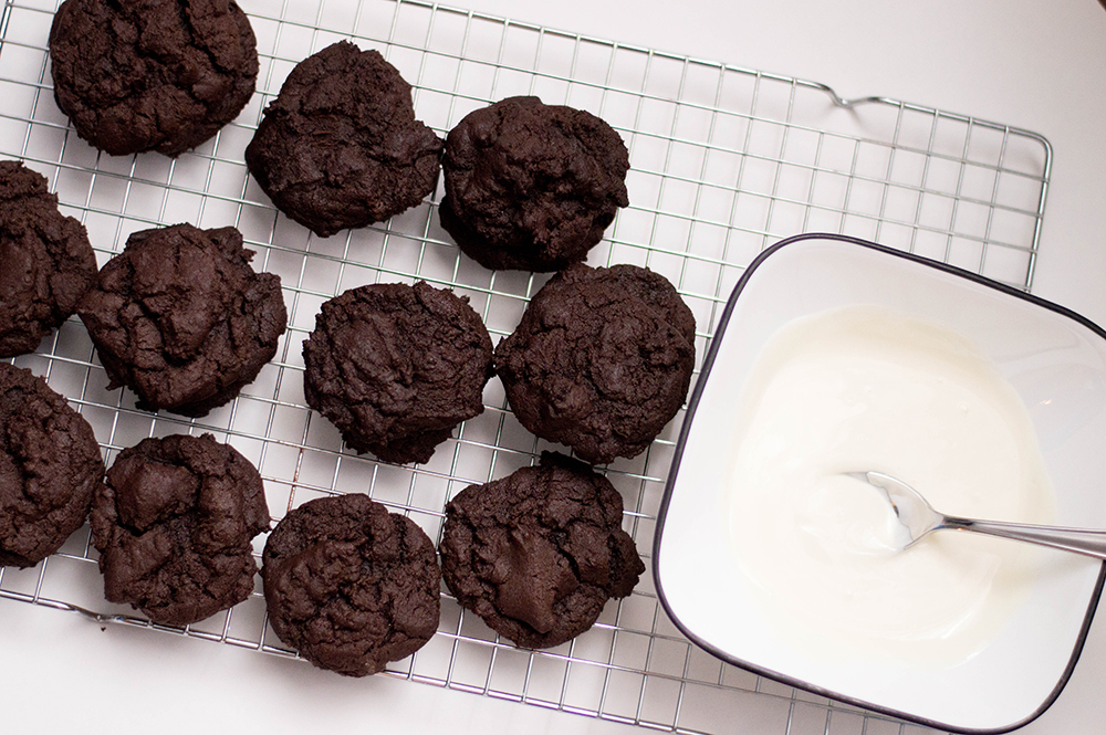 Chocolate Cookies with Toffee Bits after baking before decoration