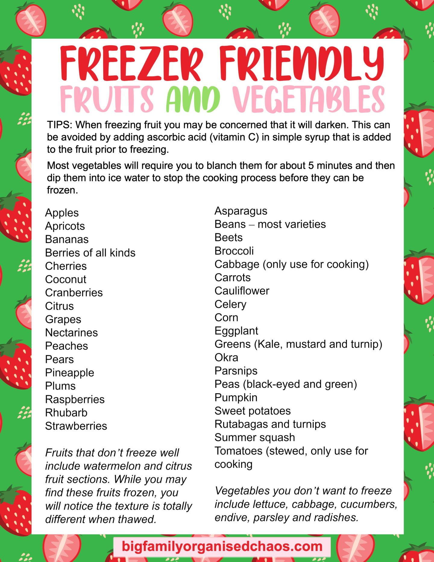 freezer-friendly fruits and vegetables printable