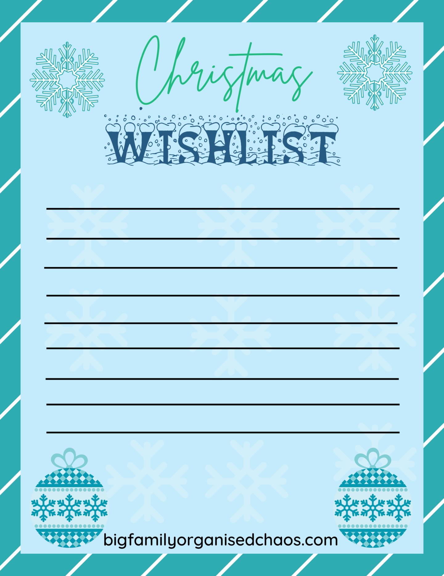 letters to Santa christmas wish list
